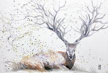 рисунки акварель