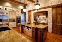Kitchen Cabinets w/ Paint and Stain / Kitchen cabinets that combine painted and stained or natural wood finishes.