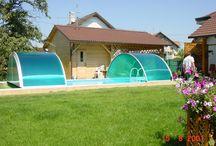 Posuvné zastřešení bazénů - středně vysoké / Posuvné zastřešení bazénů střední výšky od výrobce kvalitních zastřešení teras, bazénu a vířivých van Alukov a.s.