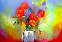 Arte en Flores / Pintura abstracto expresionista sobre lienzo