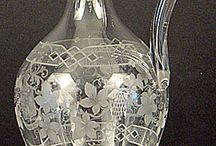 Bohemian Etched Crystal Wine Ewer, late 19th century, hand blown, delicate, hollow handle