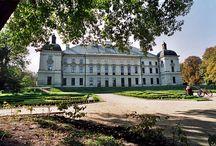 Lubartów / Pałac w Lubartowie zbudowany w II poł. XVII w. dla marszałka wielkiego koronnego Józefa Karola Lubomirskiego, według projektu Tylmana z Gameren. Po Sanguszkach rezydencja wielokrotnie zmieniała właścicieli. W 1933 r. wielki pożar zniszczył dach i wnętrza pałacowe. Tuż przed wojną wypalony pałac wykupił Zarząd Miejski lecz  nie udało się go odbudować. Nastąpiło to w latach 1950-70. Obecnie pałac pełni funkcję Starostwa Powiatowego w Lubartowie.