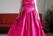 Satin prom gowns.