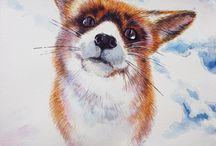 watercolor animals / Art illustration watercolor