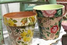Decoupage - decorated plant pots