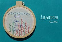 """Bordados de La sonrisa / Bordados realizados por Aye Weiss, para su taller """"La sonrisa"""""""