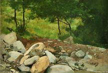 Bosques y montaña. / Eliseo Meifrén Roig. Pinturas al óleo de bosques y montaña.