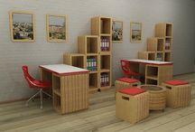 Мебель из гофрокартона / Интересная идея для необычного интерьера в стиле минимализм.