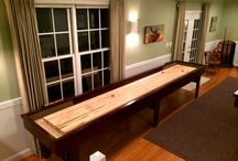 """Patriot Shuffleboard Table / The Play board is made from 100% solid Michigan hard Maple the Patriot shuffleboard table features a 20"""" wide 3"""" thick hard maple play-field with a specially formulated finish and a lifetime warranty."""