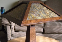 Holland Table Lamp w/Coffee & Mustard Slag Glass / Holland Table Lamp w/Coffee & Mustard Slag Glass