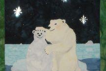 The Snowmen / The Snowmen - Original art work by Will Bullas. Quilt by Nan Baker of Purrfect Spots featured as a BOM in The Quilt Pattern Magazine - Feb/Nov 2013 www.quiltpatternm... Polar bear making a polar bear snowman friend.