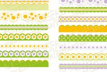 Fresh spring colors / Digital cliparts, papers, Borders,Floral Embellishments Scrapbooking Elements