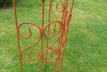 Gartendeko - rostige Gartenstäbe, Rosenstäbe, Pflanzenstäbe / rostige Gartenstäbe, Rosenstäbe, Pflanzenstäbe aus Metall