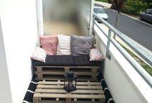 Pallet sofa on balcony