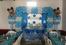 decoracion mickey bebe / globos comunion
