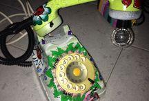 Lampada telefono decorato / Lampada telefono decorato a mano