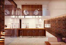 New York style loft / design & visualization / #interiordesign #visualization 3D #architecture #apartament #concrete #modern architecture  #design #wood #loft #brick #bubblechair