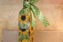 lahve a květiny papírové