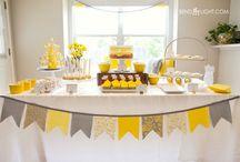 Baby shower yellow & grey