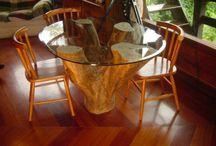 mesas tronco de árvore