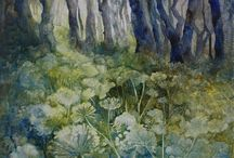 Opius Gallery | Angela Perrin / Angela Perrin is drawn to the atmospheric light that penetrates the land at the beginning and end of the day. Times when the world becomes less vivid and more mysterious.