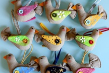 Fabric birds to hang / Sewing