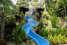 Pool slide backyard ideas