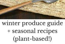 Eat Seasonally: Winter / eat seasonally with some healthy seasonal and delicious winter recipes. Carrots, cauliflower, citrus, pears, pomegranates, winter squash, sweet potatoes, mushrooms, and greens