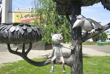 Кошки в скульптуре и архитектуре