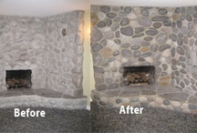 Mantels and Fireplaces / Working on a precast concrete mantel/wall and making it to look like a true stone wall.  Challenge to blend the stone individually while keeping the overall composition of the wall.