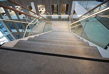 grey limestone stairs