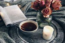Books and coffee or tea