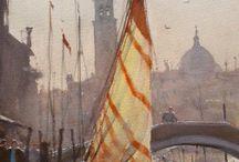 Paisaje urbano y barcos  (Acuarela)