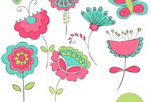 Theme - flowers and trees / Flowers and trees illustrations