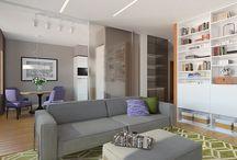 Современный интерьер квартиры (contemporary interior of apartment) / Интерьер квартиры в доме комфорт-класса. Современный стиль, натуральные материалы, теплые тона. Кухня-столовая отделена от гостиной стеклянными раздвижными перегородками.