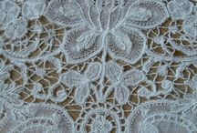 Duchesse bobbin lace / A part lace dating from about 1850 to present, using a large number of standard motifs. Often has raised work. Sometimes has inserts of point de Gaze needle lace. The recent development of Brussels and point d'Angleterre.  Antique and modern. / by lorelei lynxlacelady