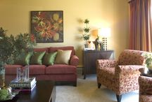 Gold Tone Walls / Gold undertone, violet, purple and greens