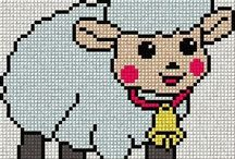 CROSS STITCH  -  SHEEPS  & COWS  & PIGS