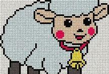 CROSS STITCH  -  SHEEPS  & COWS  & PIGS