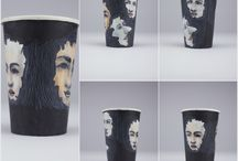 Cup art / artwork on take-out paper cups by Jennifer Park