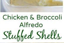 Chicken and broccoli stuffed shells