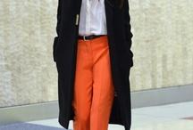 Look pantalon cigarette orange