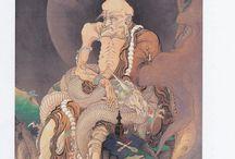 狩野芳崖の'伏龍羅漢図'(1885年)