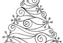 karàcsonyfa vonalas rajz