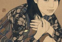 IKENAGA YASUNARI / Japanese artist - paints Asian women on linen canvases with mineral pigments and gold. Her work evocates ancient traditional JAPANESE paintings, though the subject is modern and fashionable