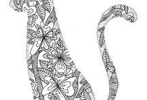 CATS & other animals / zwart / wit tekeningen
