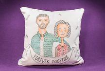 Hand-drawn Custom portrait on pillow / Hand-drawn Custom portrait on pillow - Home Decoration, Decoration, Illustraton, Pillow