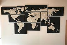"""Map Monde en """"String-art"""" by DIMENSYON / Map monde en """"String-art"""" en cuir noir. 10 cadres by DIMENSYON"""