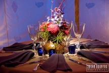 late autumn:  copper cobalt global wedding, local flowers