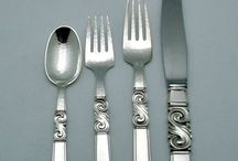 """Vintage Georg Jensen Scroll / Saga / The """"Scroll"""" or """"Saga"""" pattern of sterling silver flatware was designed by Johan Rohde in 1927 for Georg Jensen. Browse our collection of fine vintage Scroll silverware and other pieces."""